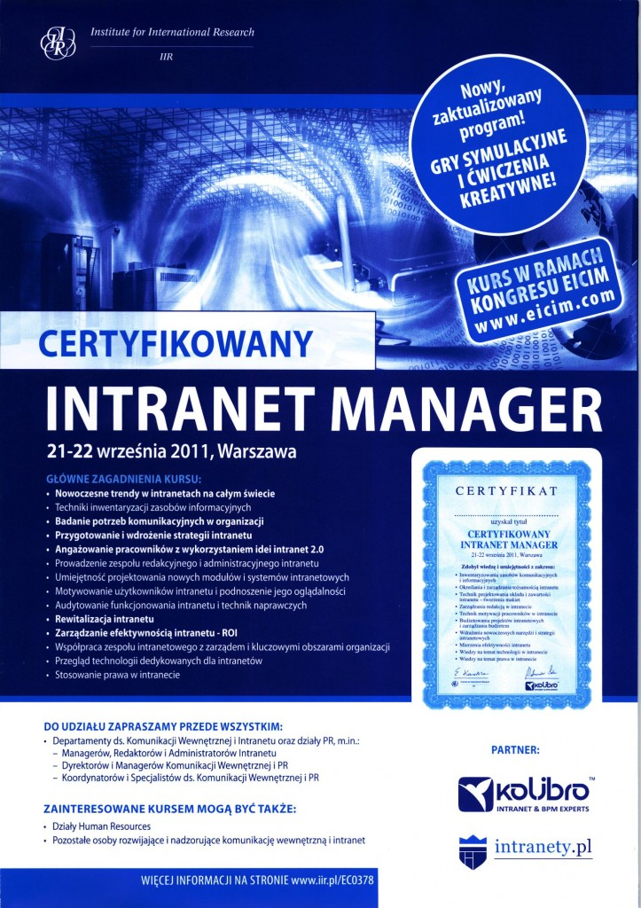 Szkolenie Certyfikowany Intranet Manager